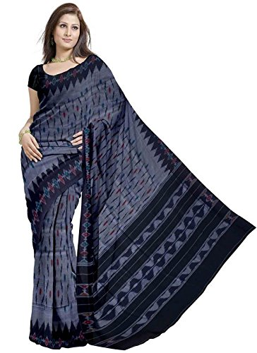 Grey with Floral Border Pochampally Ikat Cotton Saree