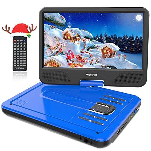 WONNIE 12.5' Lecteur DVD Portable avec écran Rotatif de 10,5' à 270°, Carte SD et Prise USB avec Charge directe Formats/RMVB / AVI / MP3 / JPEG, Parfait pour Enfants (Bleu)