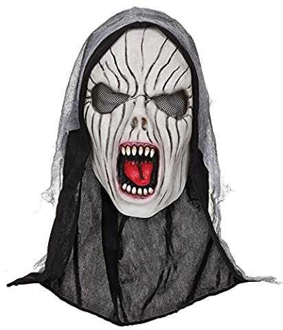 Costumes Banshee - Adults Shrieking Banshee Mask With Hood Halloween