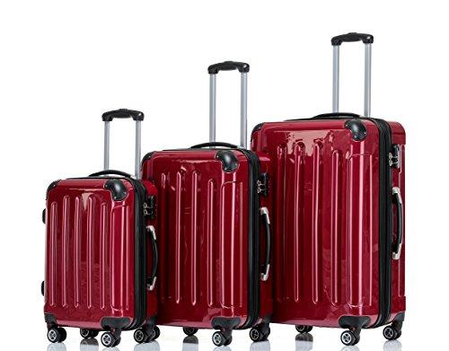 2048 Zwillingsrollen 3 tlg. Reisekofferset Koffer Kofferset Trolley Trolleys Hartschale in 14 Farben (Rot)