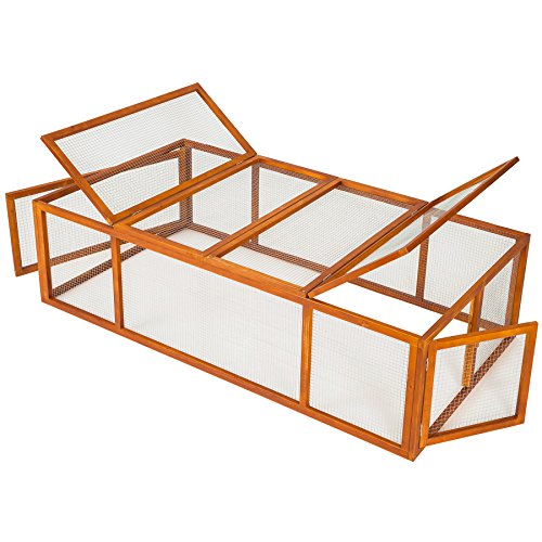 TecTake Hasenstall XXL Kaninchenstall Freigehege aus imprägniertem Holz und Metallgitter ca. 181 x 90 x 49 cm (Misc.)