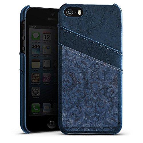 Apple iPhone 4 Housse Étui Silicone Coque Protection Ornements Motif Motif Étui en cuir bleu marine