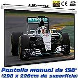Pantalla de proyeccion Manual Luxscreen 150' Pulgadas, área Visible Blanca 298 x 220cm , cajetin de...