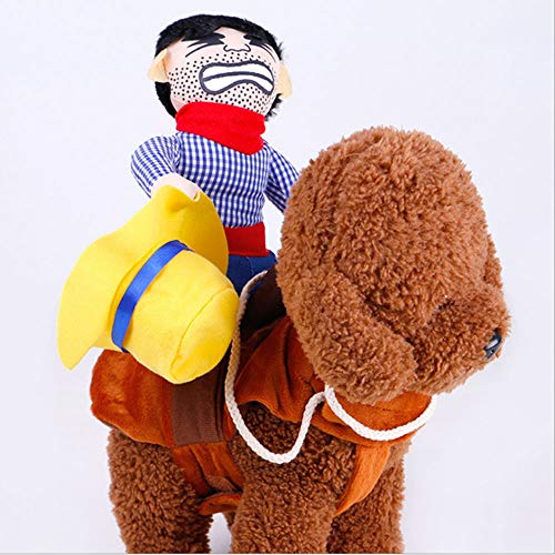 Cartoon Pet Lustige Persönlichkeit Puppe Nette Dekorative Cowboy Reiten Verwandlung Heimtierbedarf Kleidung Cospaly Halloween Hundebekleidung (2 Paket) (Color : A, Größe : L)