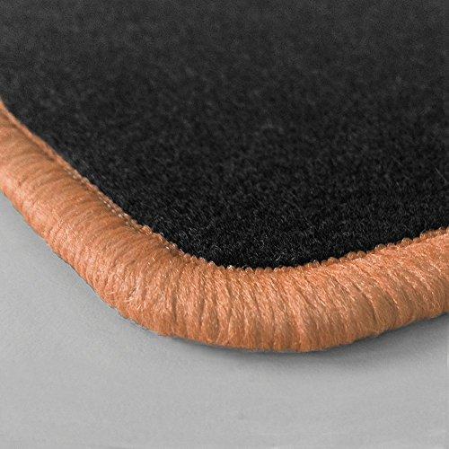 Randfarbe nach Wahl ! Passgenaue Fußmatten aus Nadelfilz mit lachsfarbigem Rand (401) für Chevrolet Corvette C5 (C5 Corvette Fußmatten)