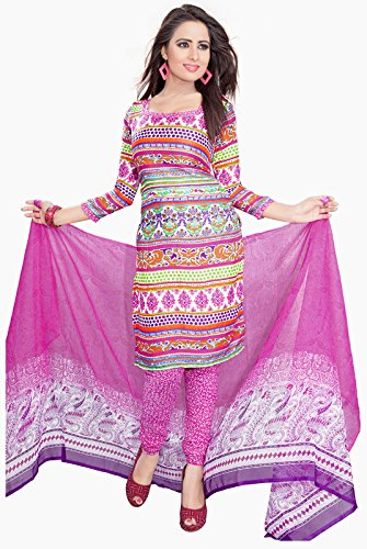 Khushali Presents Printed Crepe Chudidar Unstitched Dress Material(Multi,Pink)