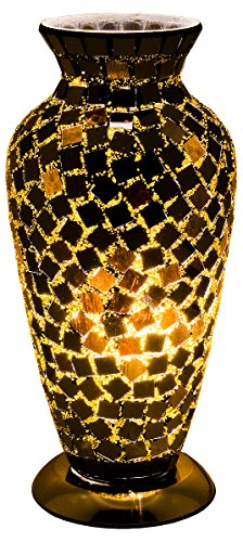 Febland Black Tile Mosaic Glass Vase Lamp, Glass