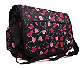 New Girls Womens Chervi Butterfly Hearts School College Laptop Satchel Messenger Bag (Black Hearts)