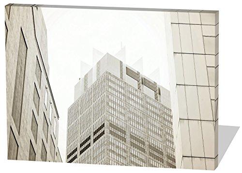 Skyline, Gemälde Effekt, schönes und hochwertiges Leinwandbild zum Aufhängen in XXL - 100cm x 70cm, echter Holzrahmen, effektiver Pigmentdruck, modernes Design für Ihr Büro oder Zimmer
