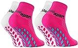Rainbow Socks - Fille Garçon Chaussettes Antidérapantes de Sport - 2 paires - Blanc Rose - Taille Enfants UE 30-35