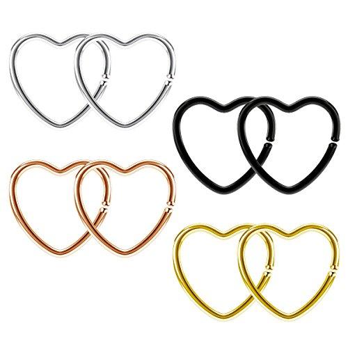 Funseedrr 4 paia 20g acciaio inossidabile cuore clip sulla chiusura daith anello 10mm falso naso lip trago cartilagine orecchino piercing gioielli