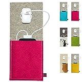 ebos Ladestation ✓Ladetasche aus Echtem Wollfilz und Kuhfell ✓ für Handys, Smartphones und Digitalkameras (Pink/Hellgrau)
