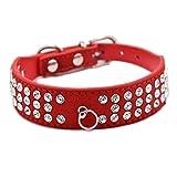Hundehalsband Halsbänder Wildleder Leder mit 3-Linie Strass O-Ring für Anhänger in Rot Blau Lila Pink Schwarz XS S M L für kleine mittlere Hunde Welpen, Rot M