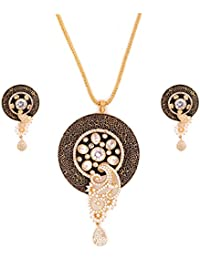 GehnaVille Designer Black Metal Alloy American Diamonds Pendant Sets For Women With Heavy Gold Plated Chain