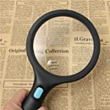 1.8X 5X 138mm Handheld Reading Pocket Magnifying Glass 10 LED Magnifier