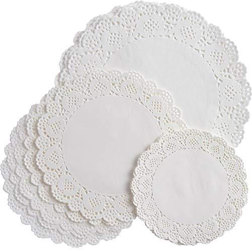 Ametsus-250Pcs Papier-Tortenspitzen, rund, weiß Spitze Papier Spitzendeckchen Set Party Hochzeit Cupcake Dekorationen Candy Kuchen Verpackung Papier Geschenkpapier Pad