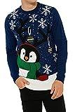 Threadbare Herren-Pullover, weihnachtliches Motiv: niedlicher Pinguin Gr. L, kobalt