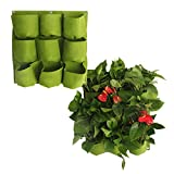 Wandmontage Pflanzbeutel Pflanzsack Pflanztasche für vertikales Gärtnern - 9 Fächer - für drinnen und draußen - für Kräuter, Gemüse und Blumen Pflanzbehälter Grün