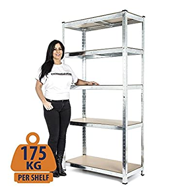 Heavy Duty Galvanised Shelving Garage Racking Unit 175kg per shelf (5 Levels 1800mm H x 900mm W x 400mm D)+ FREE NEXT DAY DELIVERY - low-cost UK light shop.