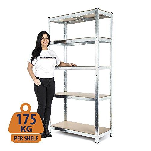 heavy-duty-galvanised-shelving-garage-racking-unit-175kg-per-shelf-5-levels-1800mm-h-x-900mm-w-x-400