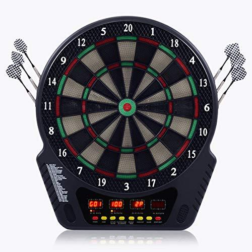 COSTWAY Elektronische Dartautomat Dartscheibe Dartboard LCD Dartspiel Dartpfeil + 6 Pfeile