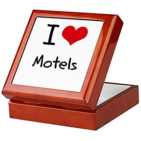 CafePress - I Love Motels - Keepsake Box, Finished Hardwood Jewelry Box, Velvet Lined Memento Box