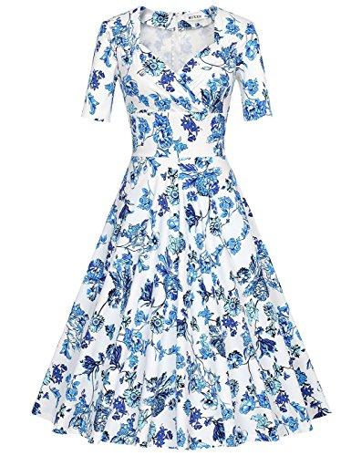 MUXXN robe cocktail femme des 1960 au col V et manche courte Big Qing Bright Blue