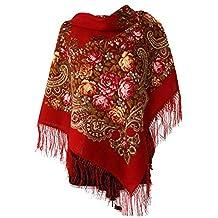 8dfdc76da3e6b Lovely Authentic russe Pavlovo Posad Écharpe Vintage Folk Soie avec franges  100% laine, Taille