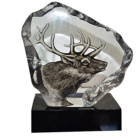ACEVER 5.91-inch by 6.69-inch Handmade Etched Crystal Sculpture Reindeer