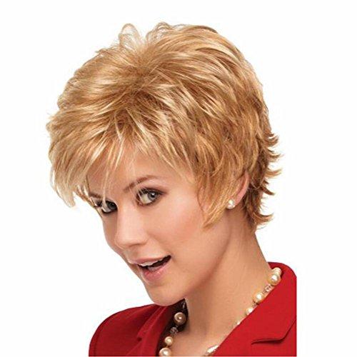 OOARGE Frauen Kurzes lockiges blondes Haar Perücken als echtes Haar Perücke , Gold (Brasilianischen Karneval Kostüm Namen)