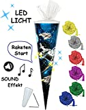 Unbekannt Sound Modul & LED Licht Effekt ! - Schultüte -  Weltraum - Space  - 85 cm / 6 eckig - incl. Schleife - Tüllabschluß - Zuckertüte - mit / ohne Kunststoff SPI..