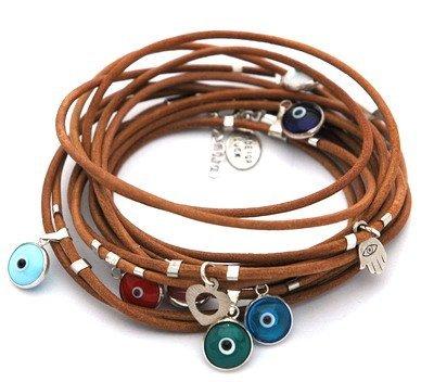 Mizze Made For Luck Jewelry-Bracciale a fascia, in pelle naturale con occhio greco, argento sterling ciondoli per protezione