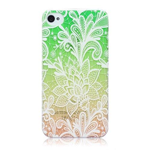 ZeWoo TPU Schutzhülle - BF016 / Baum und Natur - für Apple iPhone 4 4G 4S Silikon Hülle Case Cover BF001 / Grün Blume