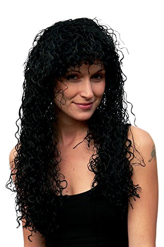 WIG ME UP ® - TH37-P103 Party-Perücke, schwarz, lang, Locken