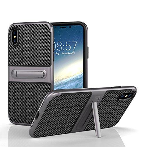 iPhone X Coque lifeepro TPU + PC hybride slim Housse résistante aux chocs Étui Couverture avec fonction de support pour iPhone X Rosé gris