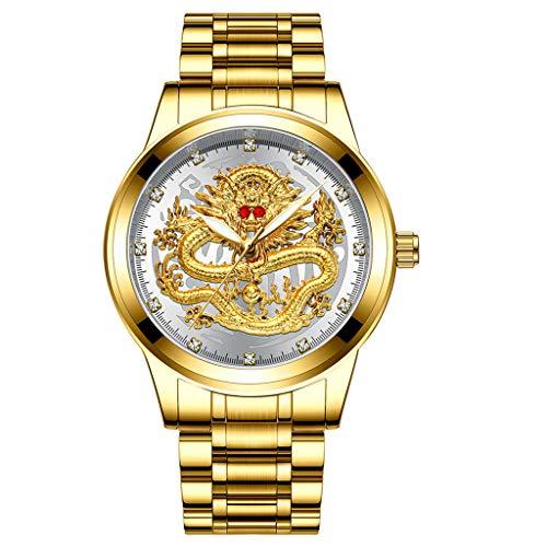 Skxinn Männer Quartz Uhrenarmband mit Edelstahl Uhrarmband,Fashion Embossed Diamond Dragon Face Watch,Casual Herrenuhr Ausverkauf(F) ()