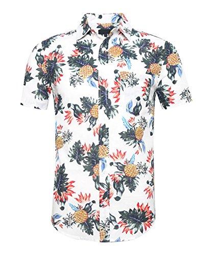 SOOPO Herren Hemd mit Ananas Floral Druck Button Down Aloha Hawaii Style Kurzarm Freizeithemd Weiß M (Ananas Bai)