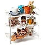 EZOWare 3 Etagen Gewürzregal Küchenregal, Organisation und Lagerung auf der Arbeitsplatte in der Küche, Bad und Büro - Weiß