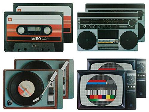Bada Bing 8er Set Tischset Hifi Geräte Retro Look Plattenspieler Testbild Ghettoblaster Kassette