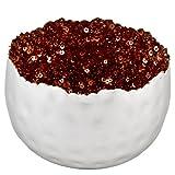 Dadeldo Teelichthalter Perlen Design Metall Deko Windlicht (7x10x10cm, Grau-Kupfer)