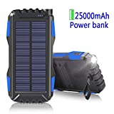 WBPINE Solar Ladegerät Powerbank 25000mAh Outdoor PowerBank Wasserdicht mit 2 USB Ports Solarzellen für iPhone, iPad, Samsung, Android und Andere Smartphones usw Tablet, MP3 Player(Blau)