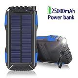 WBPINE Solar Ladegerät Powerbank 25000mAh Outdoor PowerBank Wasserdicht mit 2 USB Ports Solarzellen für iPhone, iPad, Samsung, Android und Andere Smartphones usw Tablet, MP3 Player(Blau)