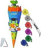 Unbekannt BASTELSET Schultüte -  lustige Eule - Schule  - 85 cm - incl. individueller Schleife + Name - mit / ohne Kunststoff Spitze - Zuckertüte - Set zum selber Bas..