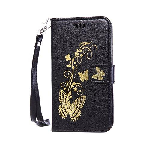 Anlike Lenovo A1000 Hülle, Schutzhülle für Lenovo A1000 Wallet Tasche [Butterfly geprägte Serie Bronzing] Handyhülle - Schwarz