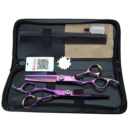 (Linke Hand) Lila 6-Zoll-Qualität Salon professionelle Schere Stylist Frisur trimmen Haar Schere Werkzeug-Set