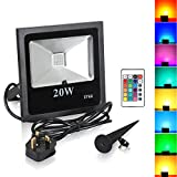 T-SUN 20W LED RGB Flood Lights, Colour Changing LED Security Lights with Remote Control, 16 Colours & 4 Modes, Waterproof LED Outdoor Floodlights, UK 3-Plug, Wall Washer Light. (20W-RGB)