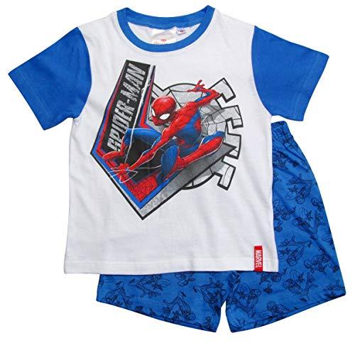 Spiderman Schlafanzug Ökotex Standard 100 Kurz Jungen (Weiß-Blau, 104)