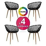 MASTERITEM Stuhl Stuhl Bettbezug (Pack 4)–Stuhl Scandi Nordic Skandinavien Inspiriert Sessel Eames–Saga–(wählen Sie Ihre Farbe) Schwarz
