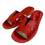 Genuine leather open peep toes wide fit comfortable slider durable women slippers red plus sizes from 4 5 6 7 8 9 P18