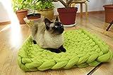 Pet Bett, Matte, Wolldecke. Farbe Grün. Natürliche und ökologische Wolle. Handmade . Gestrickt. Kostenloser Versand. Cozy kreatives Geschenk. - 5